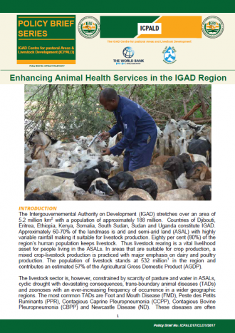 Enhancing Animal Health Services in the IGAD Region
