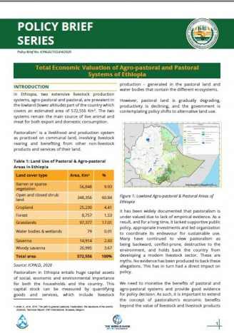 Total Economic Valuation of Agro-pastoral and Pastoral Systems of Ethiopia