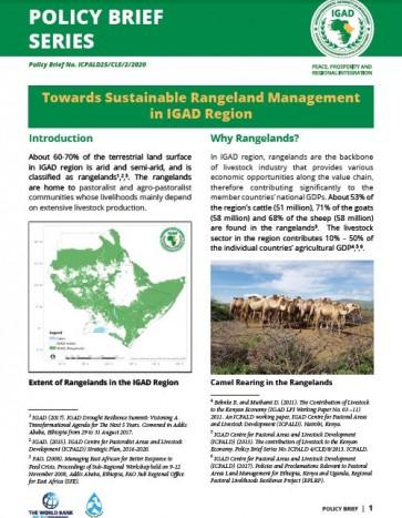 Towards Sustainable Rangeland Management in IGAD Region