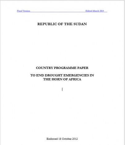 Sudan Country Programme Paper To End Drought Emergencies in the Horn of Africa